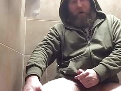 Bearded Trucker  Restroom Jism
