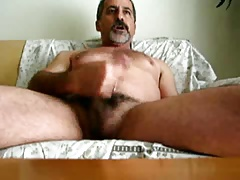 bearded  hairy man cumming